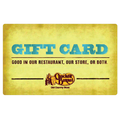 CRACKER BARREL<sup>&reg;</sup> $25 Gift Card - For a taste of home, try Cracker Barrel's country cooking!