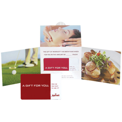 MARRIOTT<sup>®</sup> $250 Gift Card - Massage for one ... or a tee-off for two? Spa, dining, regional specialties from skiing to snorkeling or merchandise from ShopMarriott.com.  With a $250 Gift Card, you will find a world of choices at one of Marriott's many hotels and resorts.
